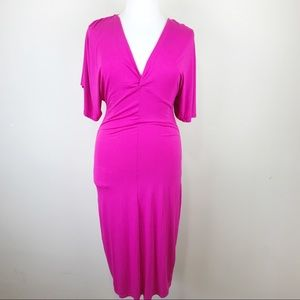 Go Couture Pink Short Sleeve Midi Dress XL